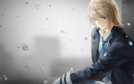 anime, парень, волосы