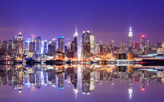 нью, york, ночь, город, high, фото, state, море, качественные, компьютер, house