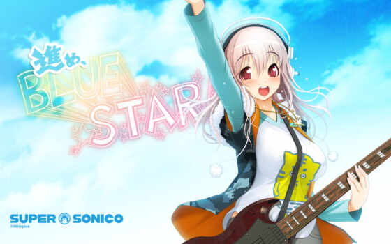 super, sonico, headphones, anime, guitar, hair, with, red, soniko, music, this, girl, eyes, pink, santa, tsuji, tag, desktop, like, ecchi, nitroplus,