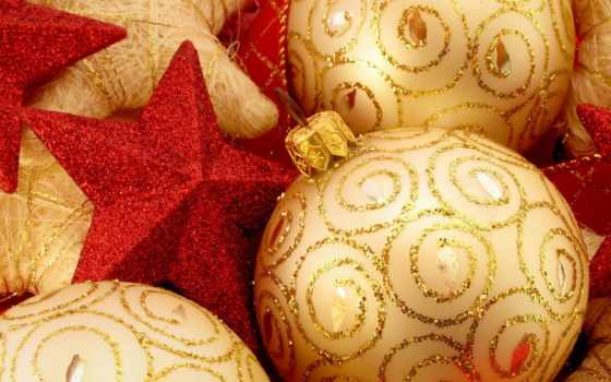шары, красные, золотые, новый, год, блестки, звёздочки, украшения, картинка, iphone, новогодние, christmas,