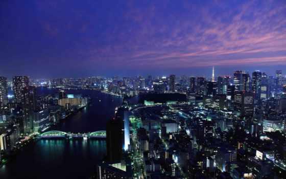 япония, город, skyline