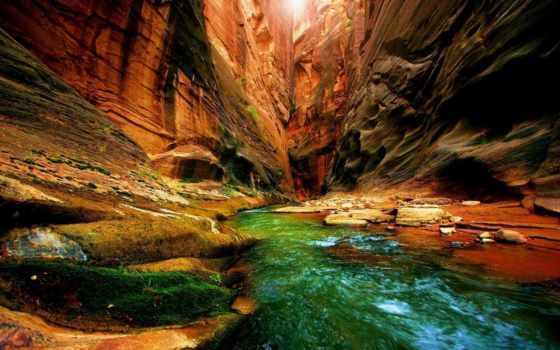 пещера, природа, река