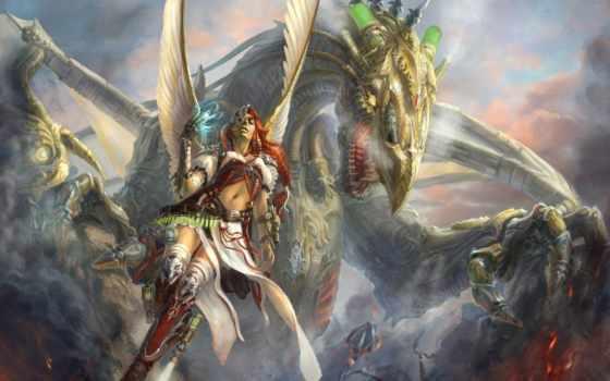 fantasy, art, дракон