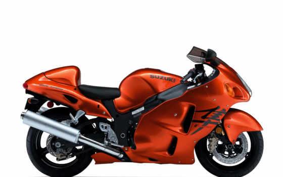 мотоцикл, оранжевый, suzuki