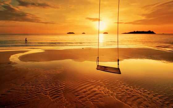 песок, ребенок, качели, море, берег, семья, горизонт, трио, небо, охранял, отражение,