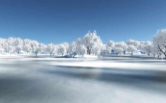 озеро, winter, снег, замёрзшее, замерзле, лед,