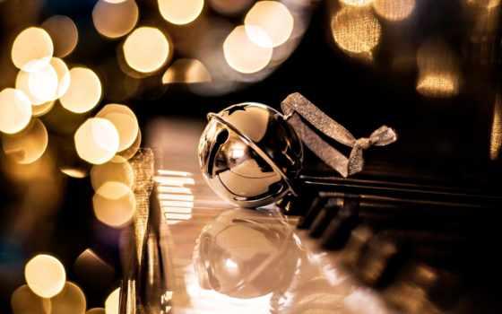 new, piano, год, christmas, bokeh, золотистый, праздник,