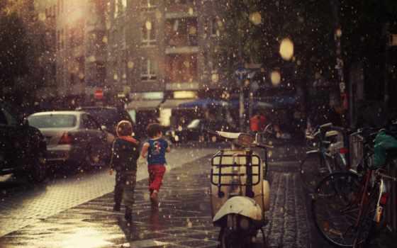 дождь, девушка, настроения, улица, дома, эмоции, plasticine, асфальт, городе, children,
