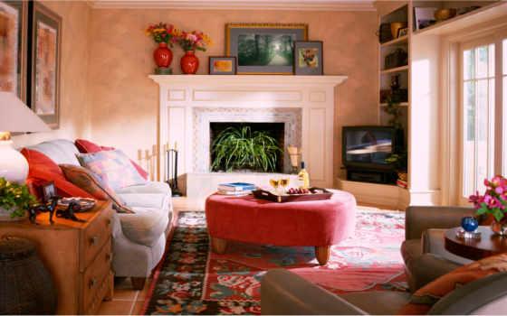 design, комнаты, камин