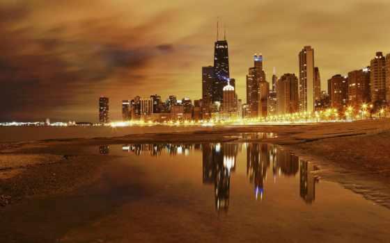 город, chicago, ночь Фон № 81161 разрешение 2560x1600