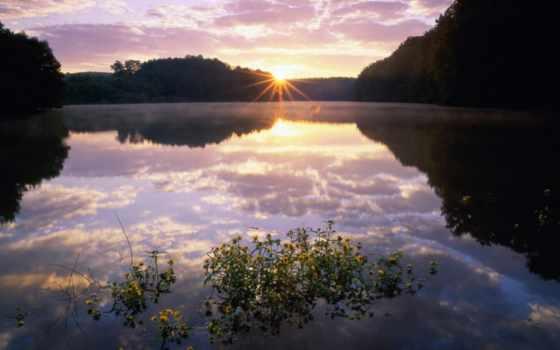 рассвет, со, озером