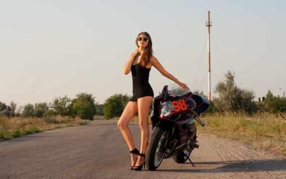 мотоцикл, девушка, мотоциклы, девушками, мотоциклом, платье, очки, свой,
