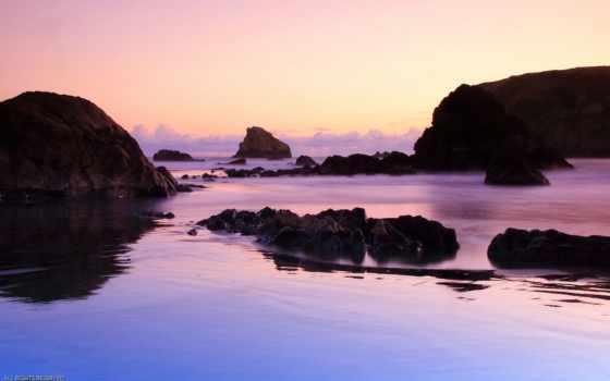 камни, water, большие, берег, моря, browse, закат, река,