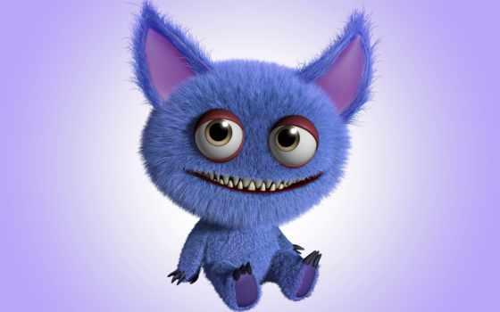 funny, monster, rendering, cartoon, cute, фотообои, характер, светящихся, магазин,