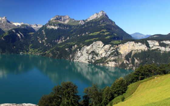 природа, swiss, landscape, гора, озеро, free