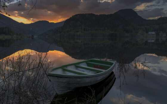 озеро, лодка, surrounded, фотограф