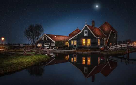 луна, город, ночь, заставка, айфон, отражение, house, star, planet, космос