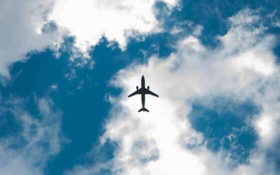 plane, небо, взгляд, blue, во, ниже, airplane, под, white, след