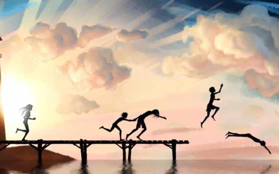 небо, картинка, пирс, море, дети, лето, река, рисунок, радость, ныряния, арт, настроение,