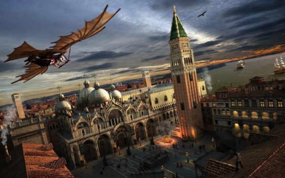assassin, venezia, площадь, creed, картинка, venice, assassins, италия, город, games, gliding, ancient,