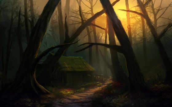 без, деревья, избушка, дверей, окон, стоит, дорожка, арт, курьих, ножках, дом, картинка, фэнтези, картинок, forest, горизонтали, имеет, фабрика, picsfab,
