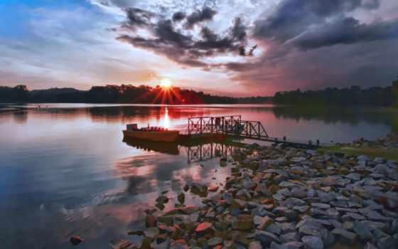 lake, sunset, over