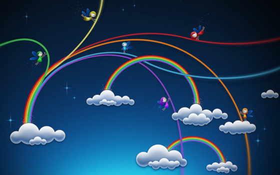облака, рисунок, радуга