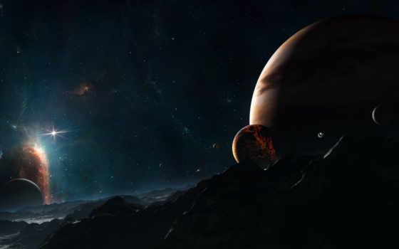 планеты, космос, system, звездная, звезды, луны, миры,