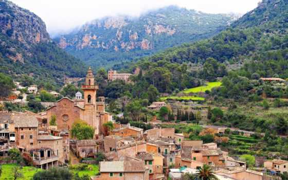 майорка, испания, valldemossa, mallorca, palm, панорама, мальорка, дома, вальдемоса, горы, здания,