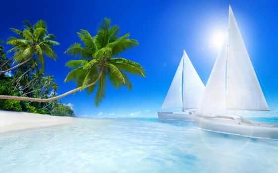 пляж, море, пальмы Фон № 123725 разрешение 2880x1800