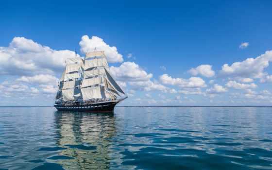 море, корабль, корабли, psychill, закат, фотообои, desktop,