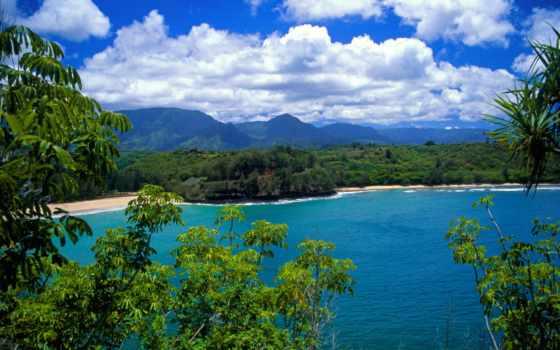 keindahan, alam, gambar, yang, ди, batur, kauai,