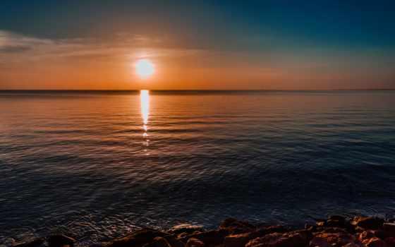 море, sun, рассвет