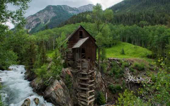 crystal, mill, trees, горы, desktop, водяная, widescreen, лес,