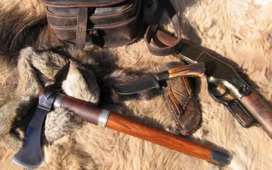топор, нож, оружие, tomahawk, винтовка, мех, под, старину,