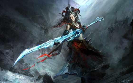 девушка, меч