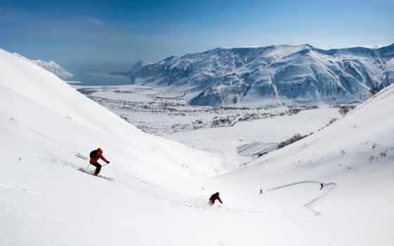 снег, горы, спуск, лыжи, долина, скорость,
