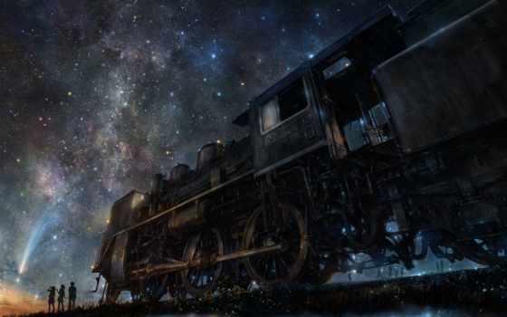 небо, силуэты, звездного, fone, неба, поезда, звездное, коллекция, ночного,
