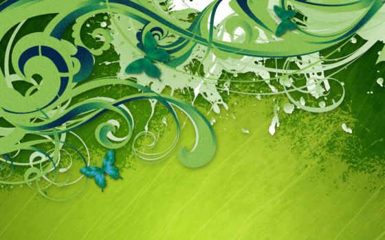 зелёный, завитки, бабочки