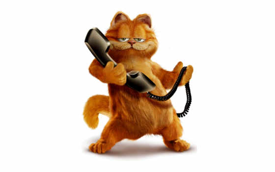 гарфилд, кот, телефон, red, сниматься, клипарт,