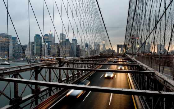 мост, new, бруклин, york, город, нью, сша, manhattan,