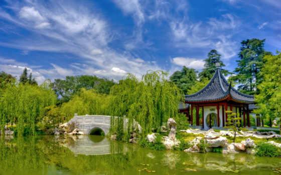 ecran, fonds, chinois, fond, chine, jardin, sur, природа,