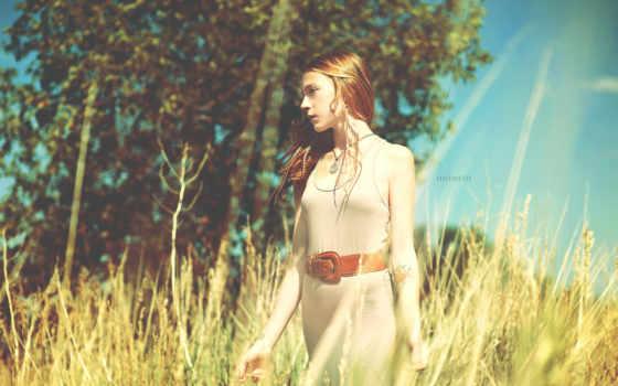 женщина, пшеница, поле, red, aryan, девушка, outfit, fashion