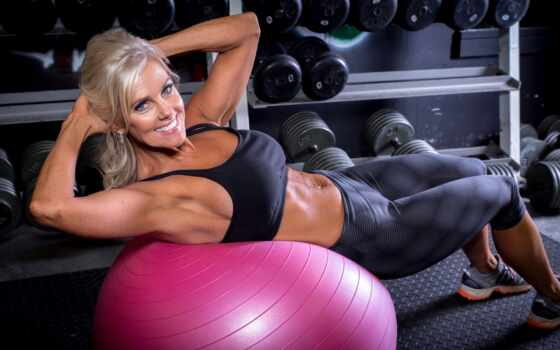 фитнес, мяч, девушка, blonde, workout, модель, упражнение, поезд, улыбка, gym, картинка