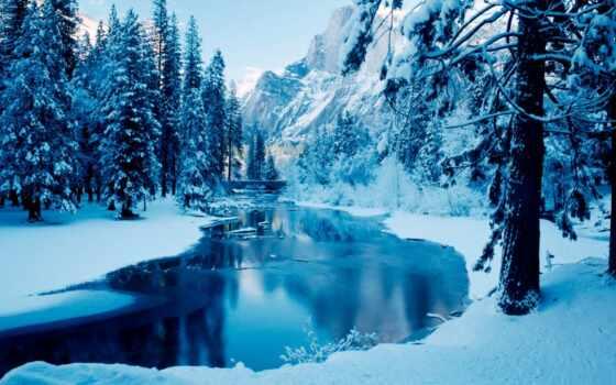 winter, природа, снег, лес, гора, drawing, ноутбук, река