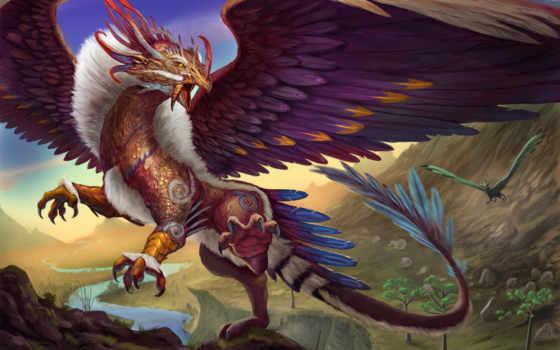 фантастики, дракон, крылья