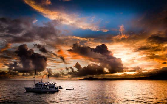 яхта, море, вечер