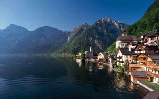 австрия, hallstatt, озеро, берег, горы, town,