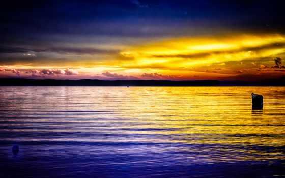 закат, ocean, небо