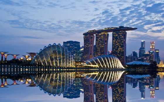 singapore, огни, взгляд
